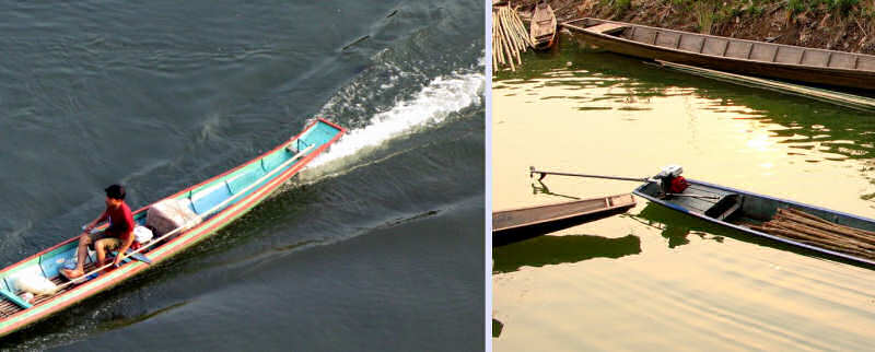 Two Types of Laotian Motors: Long-tail Outboards in the South, Inboard Engines in the North